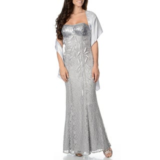 Ignite Evenings Women's Silver Sweetheart Lace Gown