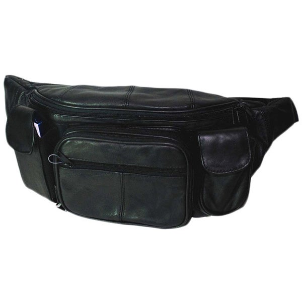 Hollywood Tag Extra Large Black Leather Fanny Pack (As Is Item)