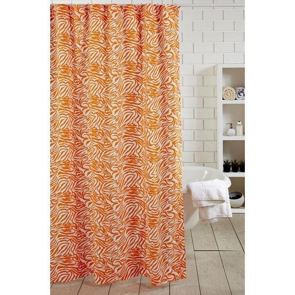 Zebra Orange Shower Curtain