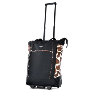 Olympia Black / Giraffe 20-inch Fashion Rolling Shopper Tote