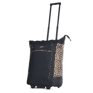 Olympia Black/ Leopard 20-inch Fashion Rolling Shopper Tote