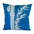 Hand-printed 20-inch Blue and White Bamboo Print Throw Pillow