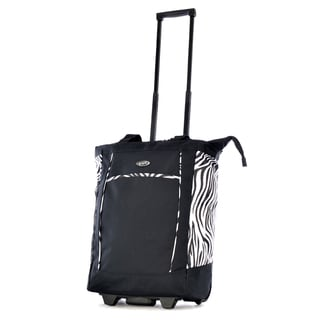 Olympia Fashion Black/ Zebra 20-inch Fashion Rolling Shopper Tote
