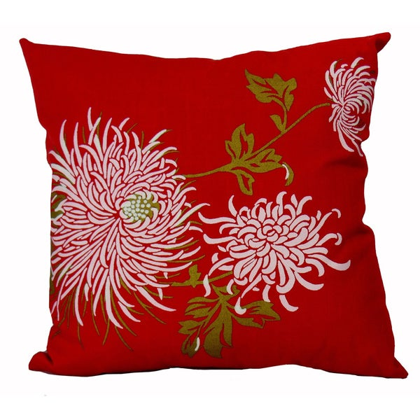 Hand-printed 15-inch Red Mum Accent Pillow