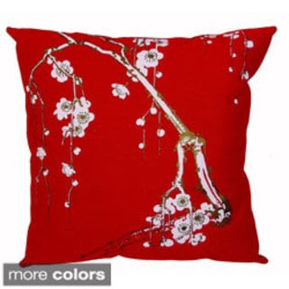 Hand-printed 15-inch Cherry Blossom Accent Pillow