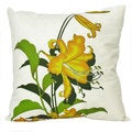 Hand-printed 15-inch Yellow Lily Accent Pillow