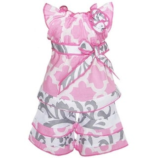 AnnLoren 2-piece Pink/ Grey Damask/ Lattice Doll Outfit