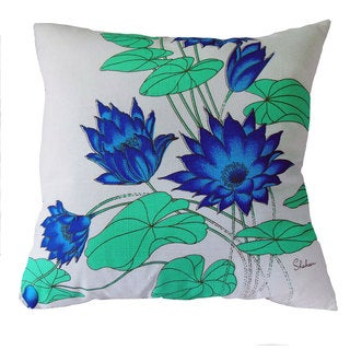 Hand-printed 20-inch Blue Lotus Accent Pillow