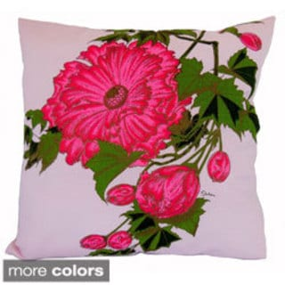 Hand-printed 20-inch Peony Flower Accent Pillow