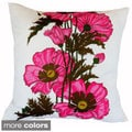 Hand-printed 20-inch Poppy Flower Accent Pillow