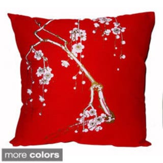 Hand-printed 20-inch Cherry Blossom Accent Pillow