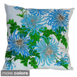 Hand-printed 20-inch Mum Floral Accent Pillow