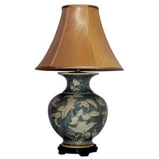 1-light Flowers/ Leaves Porcelain Table Lamp