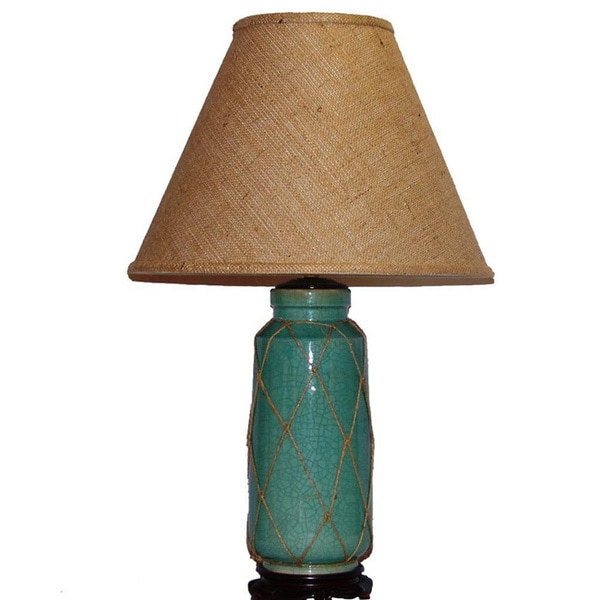 crown lighting 1 light blue crackle ceramic table lamp 15945291. Black Bedroom Furniture Sets. Home Design Ideas