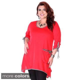Women's Plus Size Stripe Trim Tunic