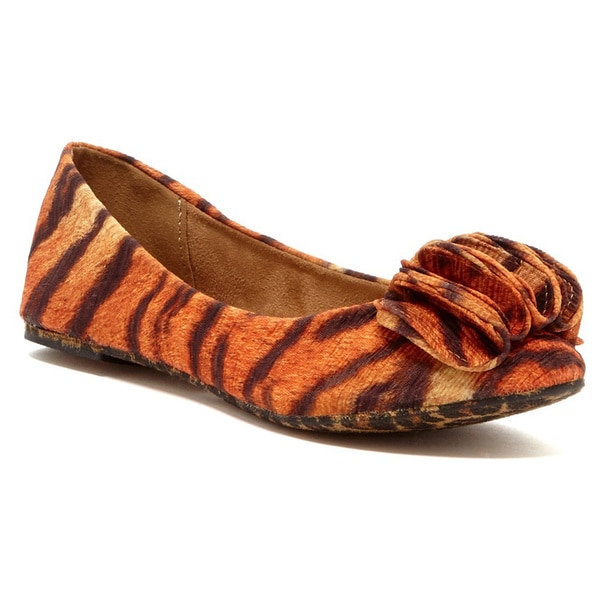 Nichole Simpson Women's Orange Printed Ruffle Flats