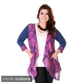 Women's Plus Size Mixed Print Spliced Cardigan