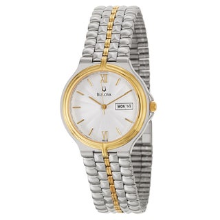 Bulova Men's 'Bracelet' Stainless Steel and Yellow Gold-Plated Quartz Watch