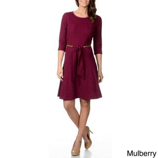 Lennie for Nina Leonard Women's Crinkle Belted Dress
