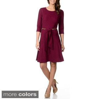 Lennie for Nina Leonard Women's Crinkle Belted Dress