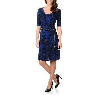 Lennie for Nina Leonard Women's Lace Print Chain Link Belted Dress