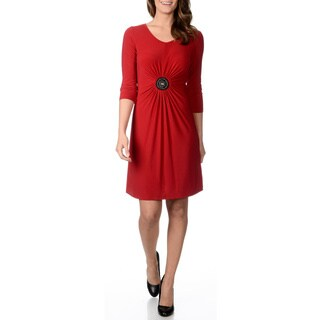 Lennie for Nina Leonard Women's Nina Red Embellished Applique Dress