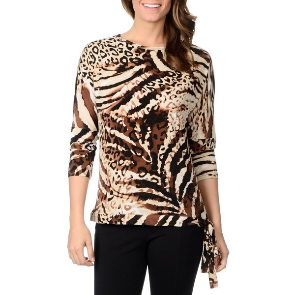 Lennie for Nina Leonard Women's Animal Print Jersey Side-tie Top