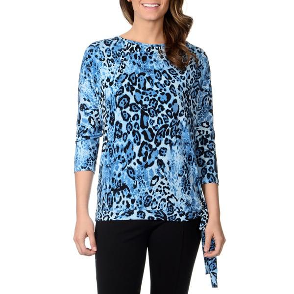 Lennie for Nina Leonard Women's Animal Print Jersey Knit Side-tie Top