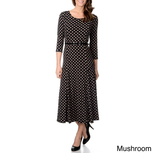 Lennie for Nina Leonard Women's Polka Dot Belted Dress