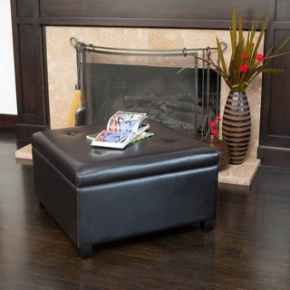 Christopher Knight Home Samona Espresso Tufted Leather Storage Ottoman