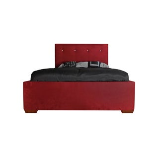 Clifford Cherry Red Tufted Suede Queen-size Bed