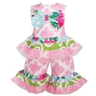 AnnLoren 2-piece Pink Lattice Print Doll Outfit