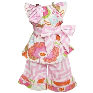 AnnLoren 2-piece Pink/ Green Floral Geometric Doll Outfit