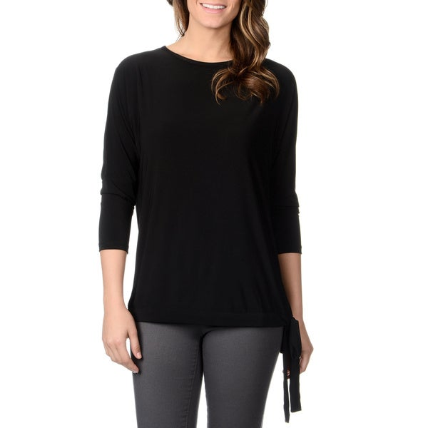 Lennie for Nina Leonard Women's Black Jersey Knit Side-tie Top
