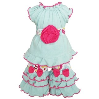 AnnLoren 2-piece Blue/ Pink Damask Doll Outfit