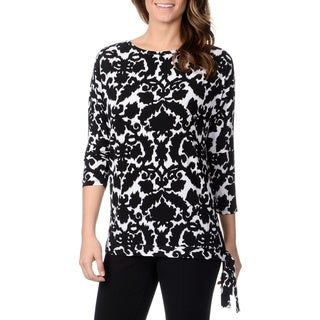 Lennie for Nina Leonard Women's Black and White Floral Print Side-tie Top