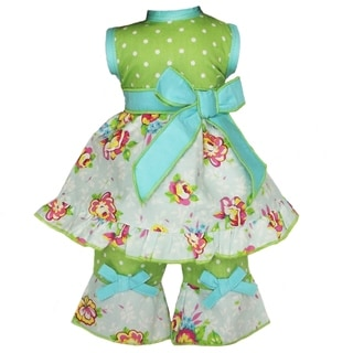 AnnLoren 2-piece Bouquet Floral/ Dot Doll Outfit