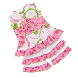 AnnLoren 2-piece Pink/ Green Circle Doll Outfit