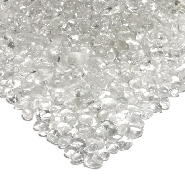 Real Flame Reflective Ice Clear Colored Fire Glass Pebbles