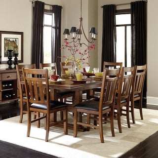 Kai 9-piece Brown Oak Extending Dining Set