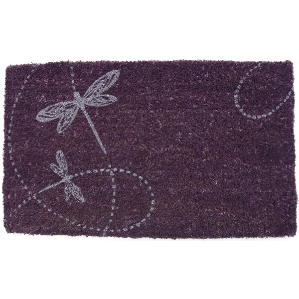 Dragonflies Purple Coir Doormat (17x28-inch)