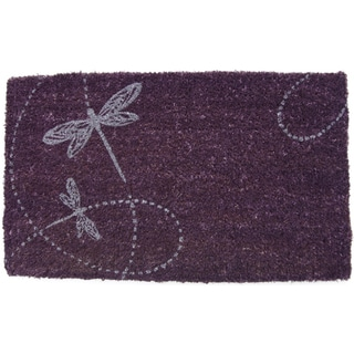 Dragonflies Purple Coir Doormat (17x28-inch)