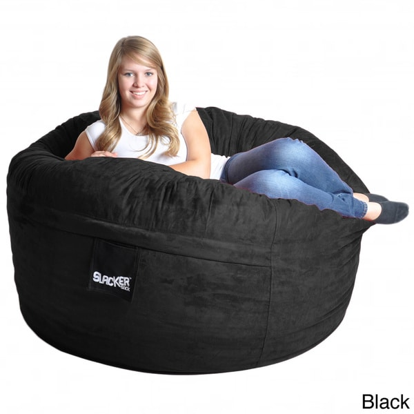 Slacker Sack 5-foot Round Microfiber Suede Large Memory Foam Bean Bag Chair Cover