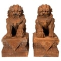 Set of 2 Handmade Rust Patina 18-inch Foo Dog Statues (China)