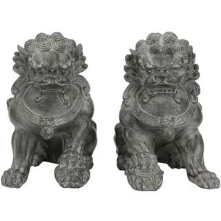 Set of 2 Handmade Sitting 9-inch Foo Dog Statues (China)