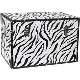 Zebra Print Faux Leather Trunk