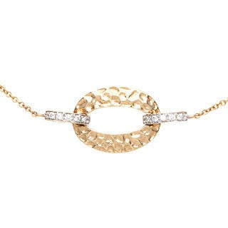 Diamonds for a Cure 14k Yellow Gold Hammered Oval Bracelet