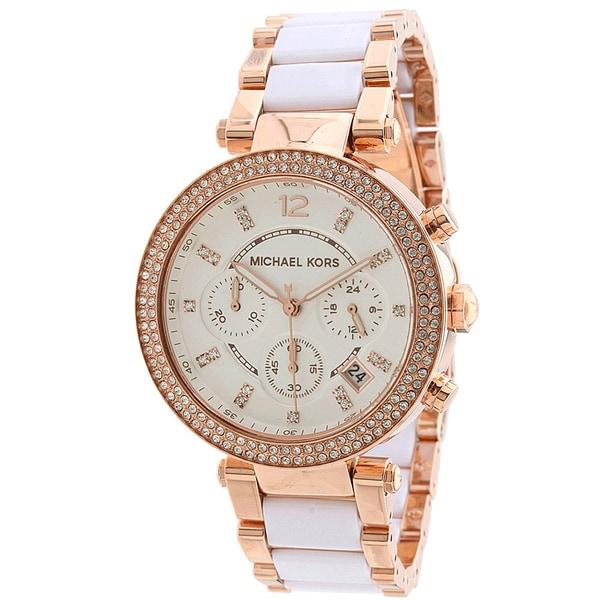 Michael Kors Women's MK5774 Parker Chronograph Rose Goldtone White Resin Watch