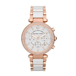 Michael Kors Women's MK5774 Parker Chronograph Rose Goldtone White Resin Watch