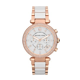 Michael Kors Women's MK5774 Parker Chronograph Rose Gold-Tone White Resin Watch